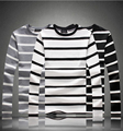 M-5XL 2016 NEW autumn men's long sleeve t shirts o neck striped winter new arrival Classic Men T shirt MQ361