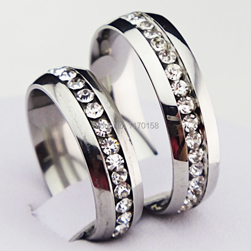 316L Titanium Stainless Steel 6m CZ Silver Engagement Wedding Band Women Mens Ring New  -  Beauty Spring Jewelry store