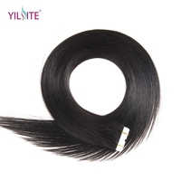 Yilite Free Shipping 22inch 100% Russian Human Tape In Hair Extensions 20pcs Silky Straight Invisible Tape Hair Extensions