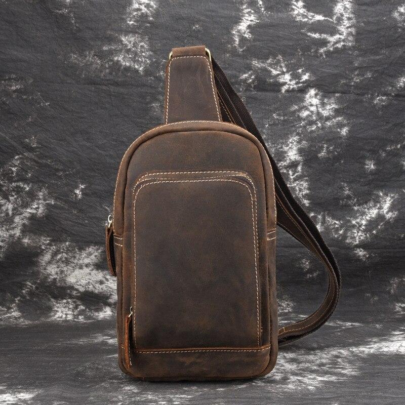 Men Crazy Horse Cowhide Chest Bags Genuine Leather Shoulder Messenger Bag Casual Retro Cross Body Sling