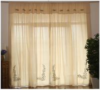 American Country Style Beige Double Layer Curtain Top Cotton Linen Embroidered Blackout Curtain Finished Curtain