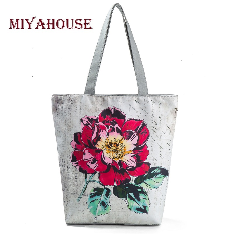 Miyahouse Colorful Floral Printed Tote Handbag Women Daily Use Female Shopping Bag Large Capacity Canvas Shoulder Beach Bag
