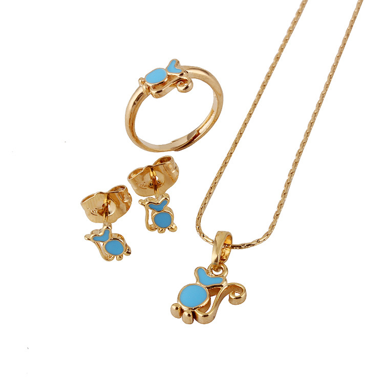Baby Girls Jewelry Sets18K Gold Plated Kids Ring Earrings Pendant