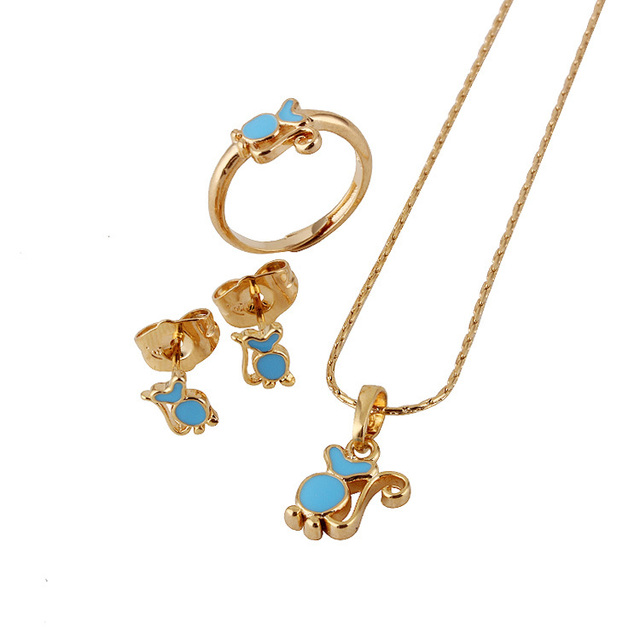 Baby S Jewelry Sets18k Gold Plated Kids Ring Earrings Pendant Necklace For Children Costume Free Shipping S18k 59