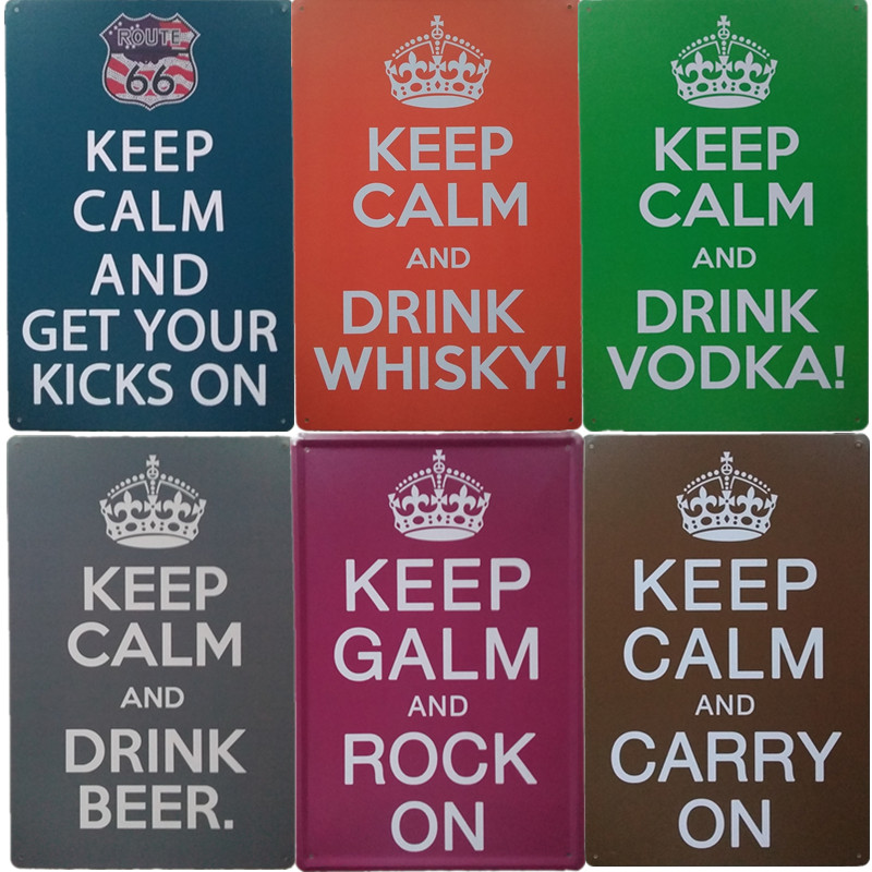 Keep Calm And Drink Vodka Whisky Beer Metal Signs Retro Poster For Home Bar Cafe Pub Vintage Metal Sign Wall Decoration