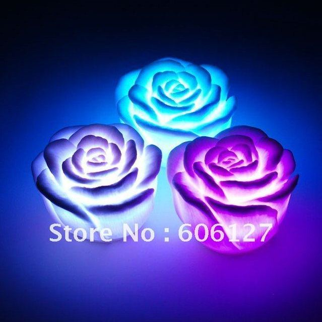 Hot sale ! 36pcs/lot Rose LED light changing color LED candle top deal for christmas day Christmas decoration Wedding Gift