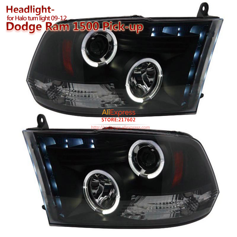 SONAR brand for Dodge Ram 1500 Pick Up Angel Eye Projector Headlights Assembly fit 2009-2012 year cars easy installation