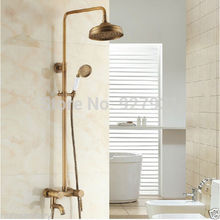 Wall Mounted 8 Rainfall Shower Head Bath Shower Faucet Set with Handheld Shower Antique Brass Finish