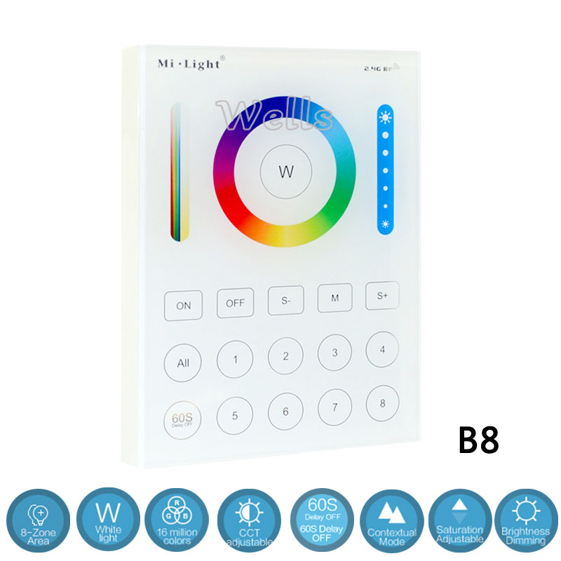 Image 2 - B8 Wall mounted Touch Panel;FUT089  8 Zone remote RF dimmer;LS2 5IN 1smart led controller for RGB+CCT led strip Miboxer-in RGB Controlers from Lights & Lighting
