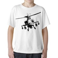 Casual T-Shirt Male Short Sleeve Pattern Chopper Military Helicopter Youth Boys Unisex Style T-Shirt