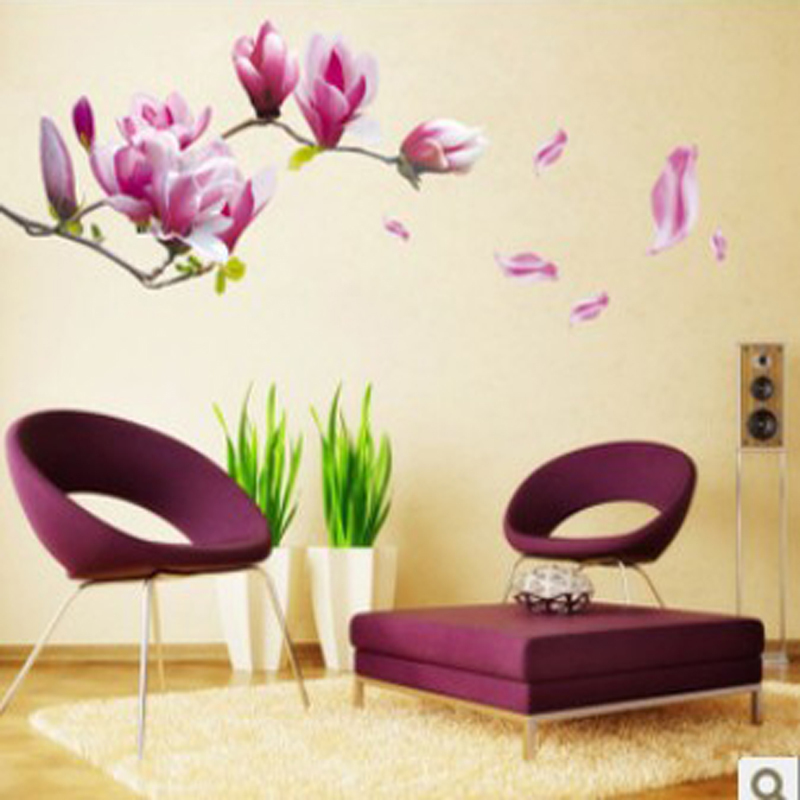 Aliexpresscom Buy Purple Magnolia Flower Wall Stickers Bedroom