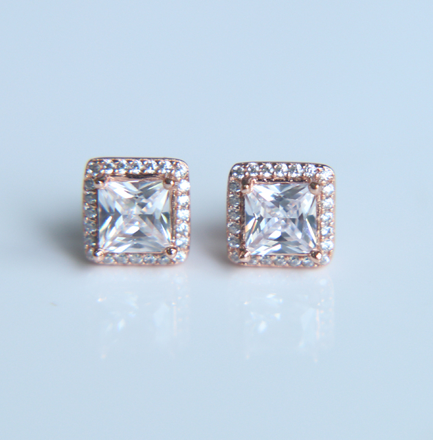 Sparkling Square Stud Earring Rose Gold Color Heart Arrow Bling Cubic Zirconia Earrings