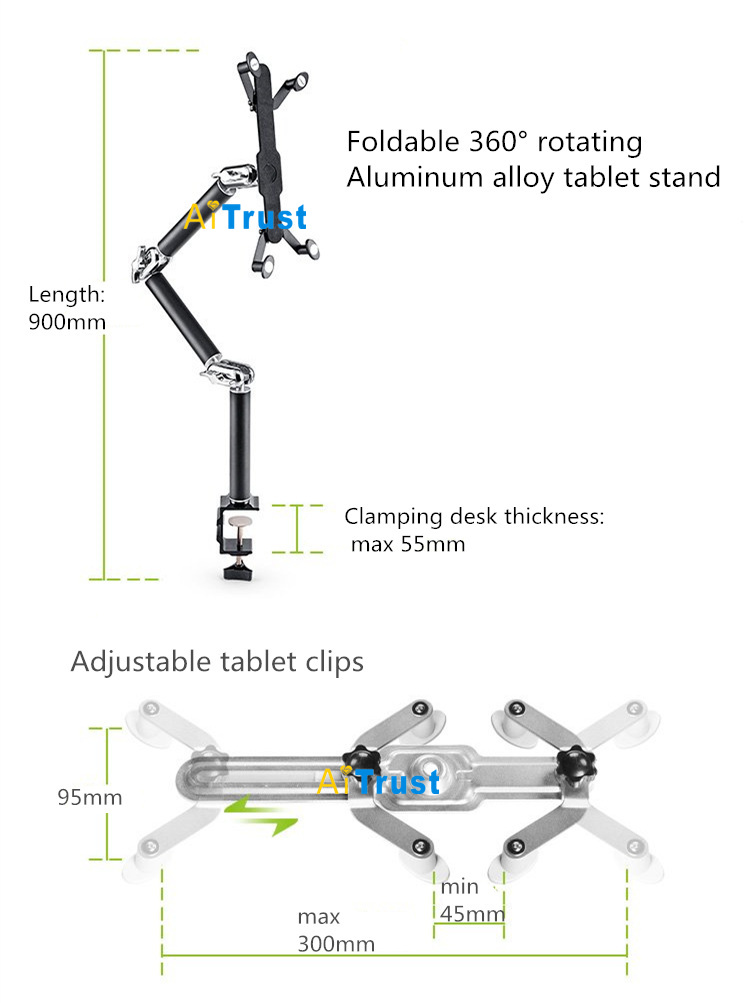 Image 5 - Tablet Holder Clamp Table Foldable Multifunction Car Stand Aluminum 360 Rotation Wall Mount Bed Bracket for iPad Air Mini 7 11-in Tablet Stands from Computer & Office