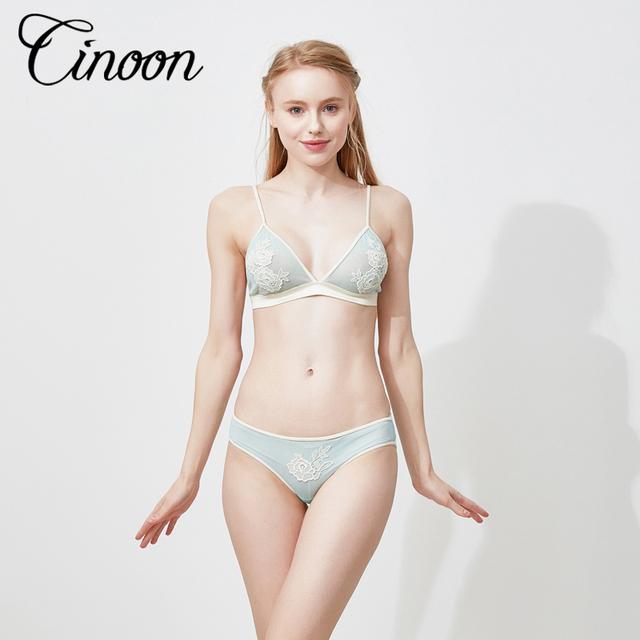 CINOON 2017 New brand plus size ultrathin lace underwear sets deep V-neck lace female sleepwear lingerie sexy women bra set S-XL