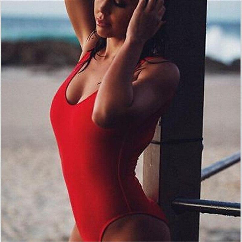 2017 New Sexy Women Swimsuit Lady Sexy V-Neck One Peice Swimsuit Purity Monokini Bikini Swimwear Beach Hot Sell Navy Suit