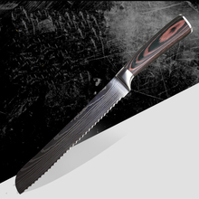 8 inch stainless steel bread knife with damascus ripple frozen meat kitchen pakkawood handle