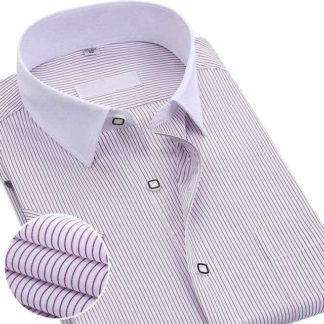2017 Nova Marca de Verão Dos Homens de Manga Curta Camisa de Colarinho Branco Listrado Moda Slim Fit Homens Camisas de Negócios Casuais Desgaste do Trabalho