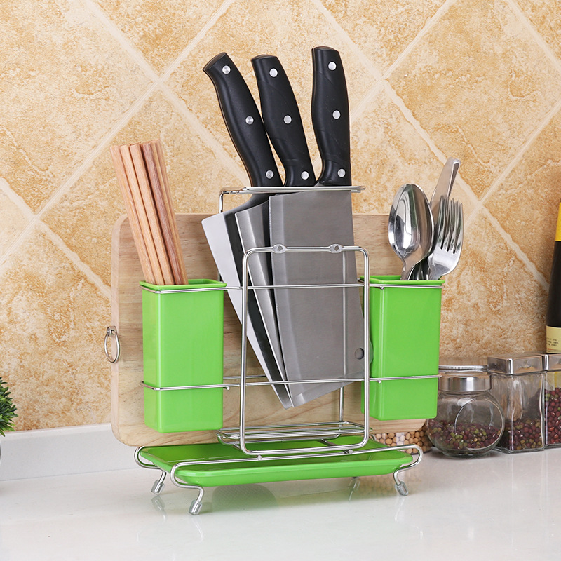 Stainless steel kitchen knife holder multi function household one cutting board chopsticks storage rack water tray ZP01151837