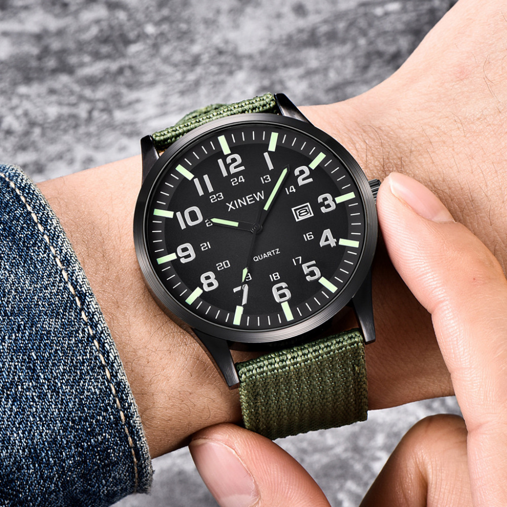 Men Round Dial Nylon Strap Band Military Date Quartz Wrist Watch Gift Roman Numerals Men's Watches Maschi Analog Outdoor New