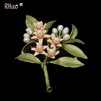 RHao Women Wedding Brooch Orange Blossom Leaves Natural Pearl Green Antique Paint Retro Corsage Brooch Pins