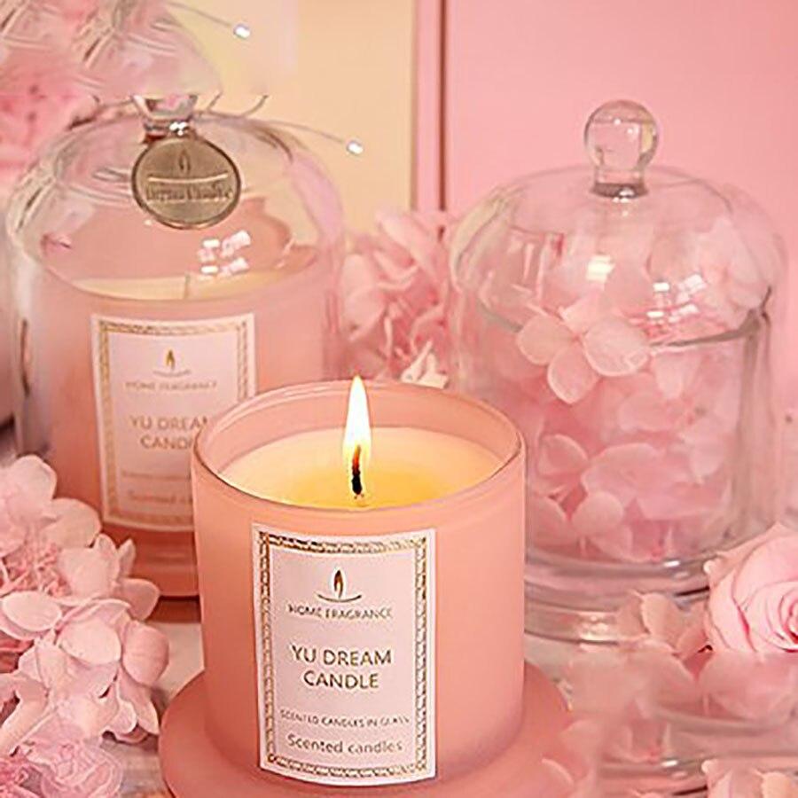 Huile essentielle de noix de coco cadeau bougie cire arôme tasse thé lumières fête d'anniversaire bougies parfumées décoration de mariage Candele 30C0016