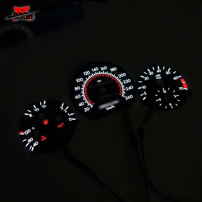 DASH 260 KM for Mercedes W124 W126 W201 190E EL Glow Gauge Black Panel  White Lighting (1302900K+1303023K)