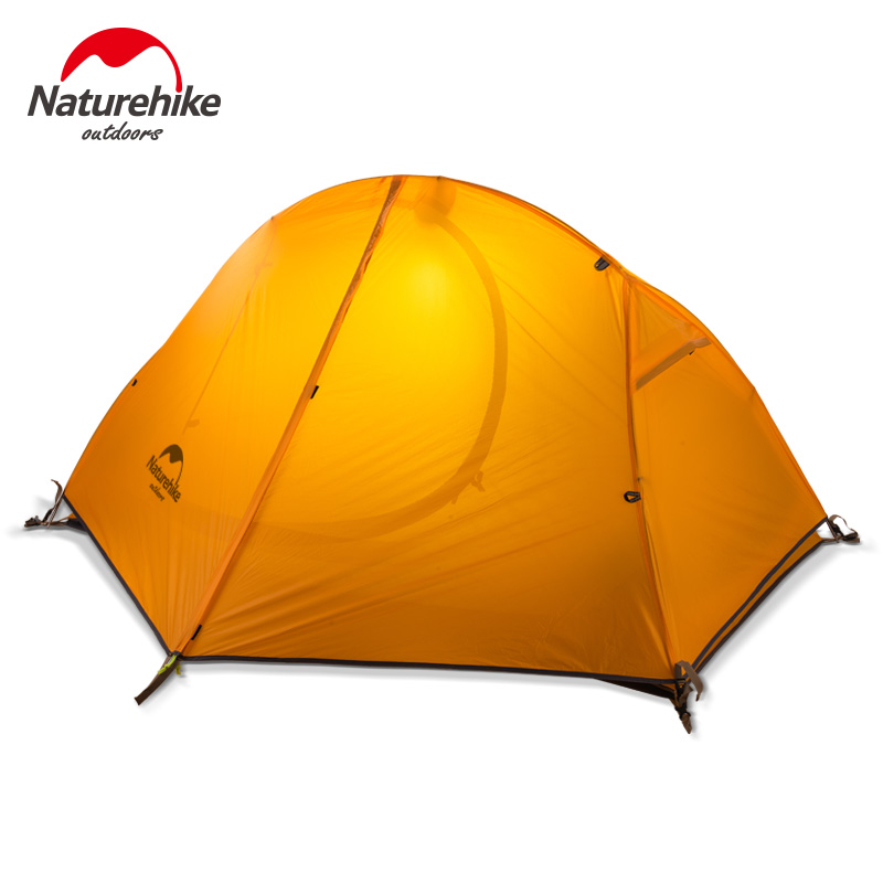 1.3KG Naturehike Tent 20D Silicone Fabric Ultralight 1 Person Double Layers Aluminum Rod Hiking Tent 3 Season With Camping Mat naturehike 3 person camping tent 20d 210t fabric waterproof double layer one bedroom 3 season aluminum rod outdoor camp tent