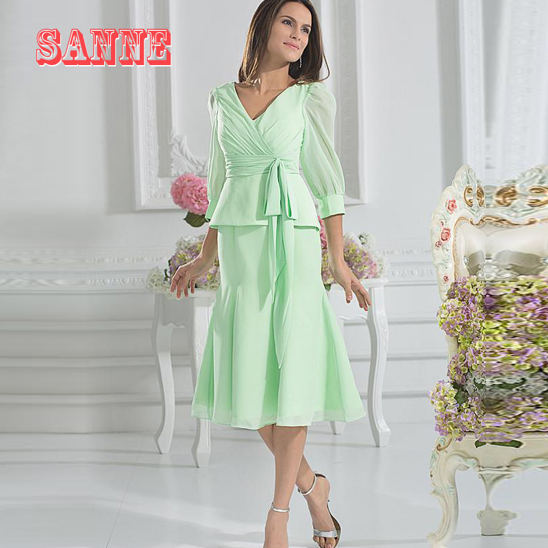 Mother Of The Bride Mint Tea length Dresses For Weddings Guest ...