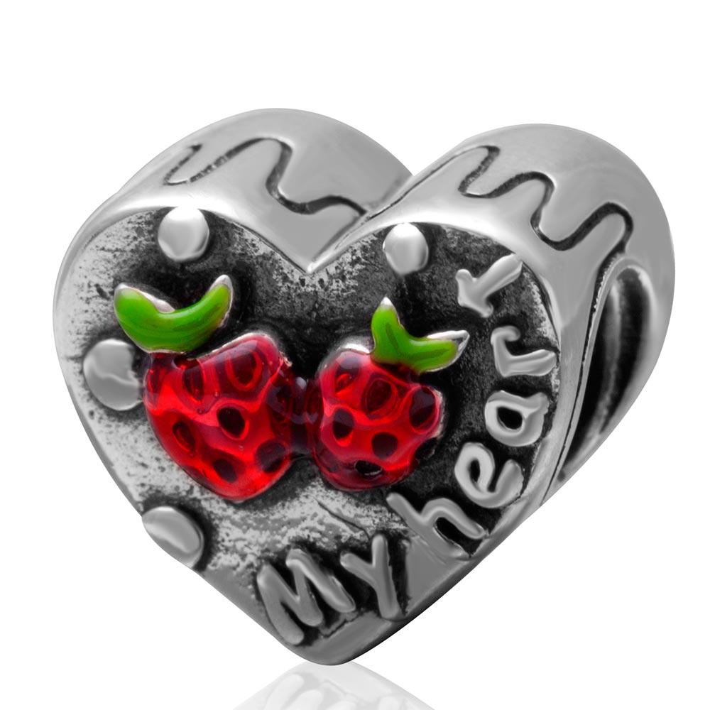 Antique Sterling Silver meu coração Bead charme com doce de morango para as mulheres de jóias DIY pulseira