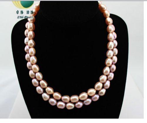 """Regalo de las mujeres palabra Amor Moda mujer Joyería cadenas dobles 9-10mm de agua dulce natural de color rosa púrpura collar de perlas de 18 """"19"""""""