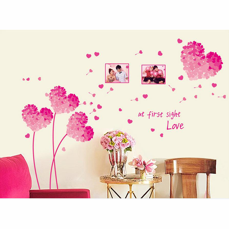 Wall Art Home Decor Love ~ Heart d wall stickers pink love decoration