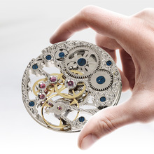 Nouveau hommes montre de poche mécanique homme horloge creux perspective fenêtre populaire créatif mâle horloge rétro homme montres de poche mode