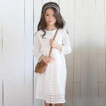 ילדה ארוך שרוולים תחרה שמלת ילד תינוק נסיכת חתונה מסיבת בנות שמלה, לבן/כחול כהה