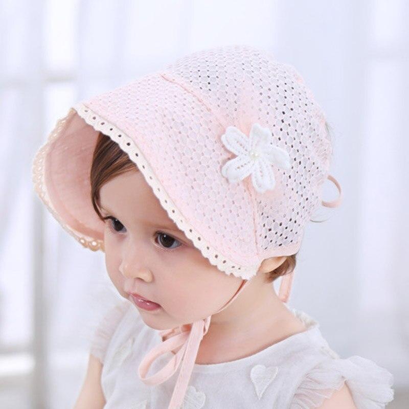 Spring Cap Summer Sweet Princess Hollow Baby Girls Hat Lace-up Beanie Cotton Bonnet Enfant Kids Flower Beanie Lace Floral Cap