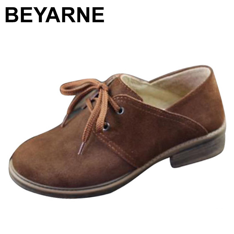 BEYARNE Shoes Women Oxfords Shoes Brown Leather Flat Shoes Round toe Lace up Women Flats 2018 Female Spring/Autumn Footwear new high quality women shoes solid black spring autumn brogue shoes woman s fretwork lace up flat heels round toe oxfords shoes