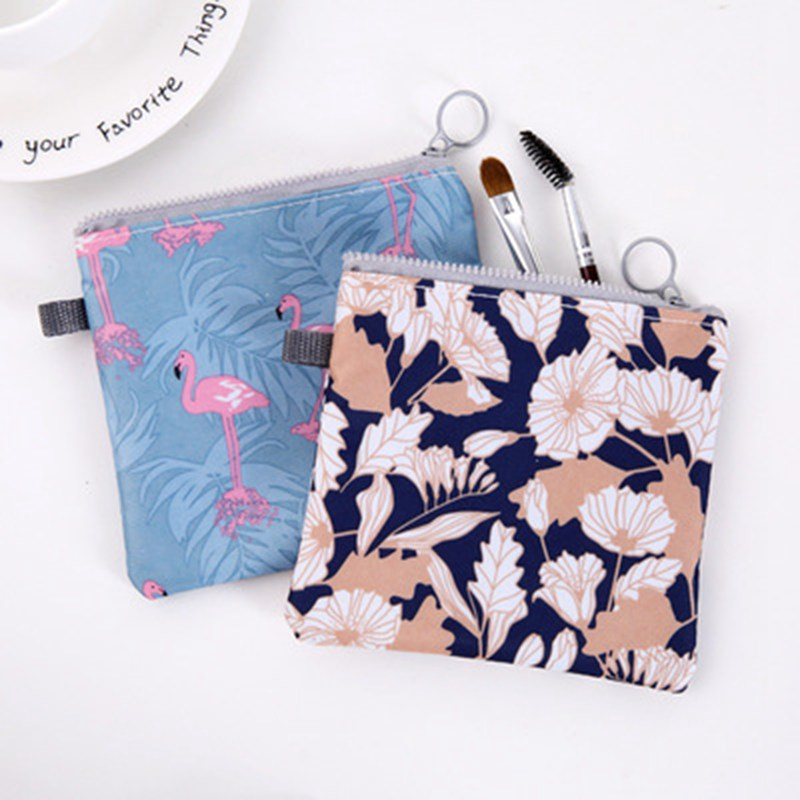Women Cartoon Flamingo Cosmetic Bag Travel Makeup Purse Case Zipper Make Up Bath Organizer Storage Pouch Toiletry Wash Beaut Kit