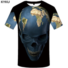 KYKU Skull T-shirt Men World Map T Shirt Space Funny Shirts Earth 3d Printed Tshirt Black Anime Mens Clothing New Casual Tops
