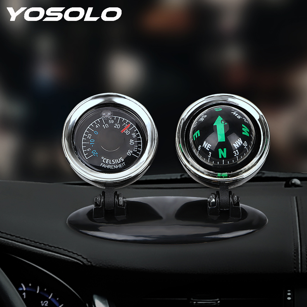 2 In 1 Car Compass Thermometer Direction Dashboard Guide Ball Car-styling Car Ornaments Vehicle Automotive Accessories