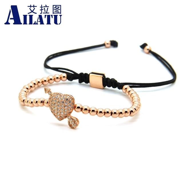 Ailatu CZ Arrow Through Love Heart Bracelet Clear Cz Beads and 4mm Stainless Steel Couple Wedding Jewelry