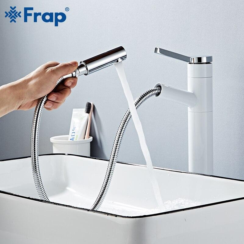 Robinet de lavabo FRAP retirer le robinet d'évier de bassin de salle de bains robinet simple de cascade de poignée d'eau froide et chaude mélangeur d'évier de navire de grue - 2