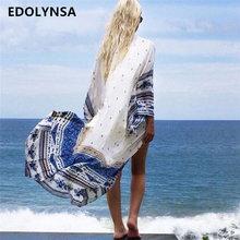 Nowości plaża przykryć kwiatowy romantyczny stroje kąpielowe Panie Pareo Beach Cape Sun Bath plaża nosić sukienka szyfon stroje kąpielowe P14 tanie tanio Poliester Drukowania Pasuje do większych niż zwykle Sprawdź informacje o rozmiarach tego sklepu EDOLYNSA Biały Wolna