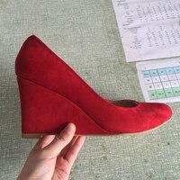 Pas cher US12 En Daim Bout Pointu Rouge Femmes Pompes Talons Compensés Réel Photo OL Chaussures Slip-sur des Talons Aiguilles EU39/43 Taille Pompe Chaussures OL Chaussures