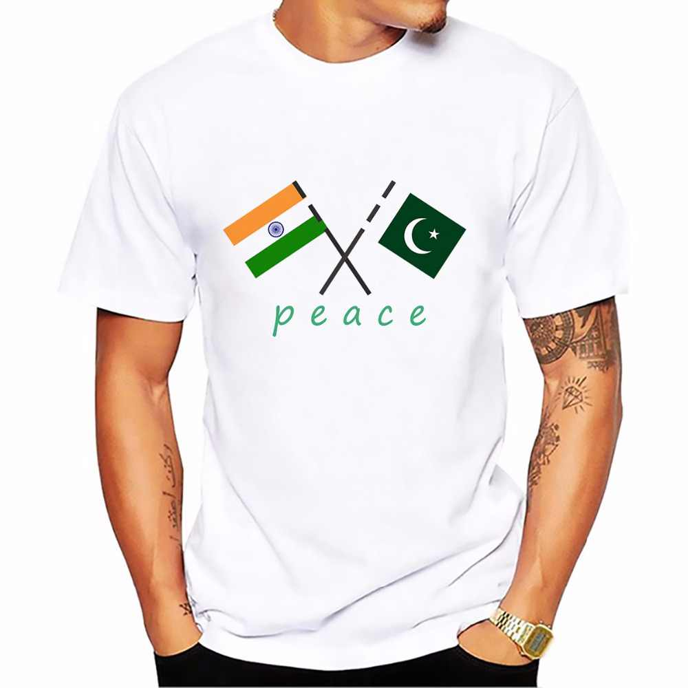 wish Peace India Pakistan t shirt homme jollypeach new Breathable white casual tshirt men Short Sleeve Plus Size T-shirt man