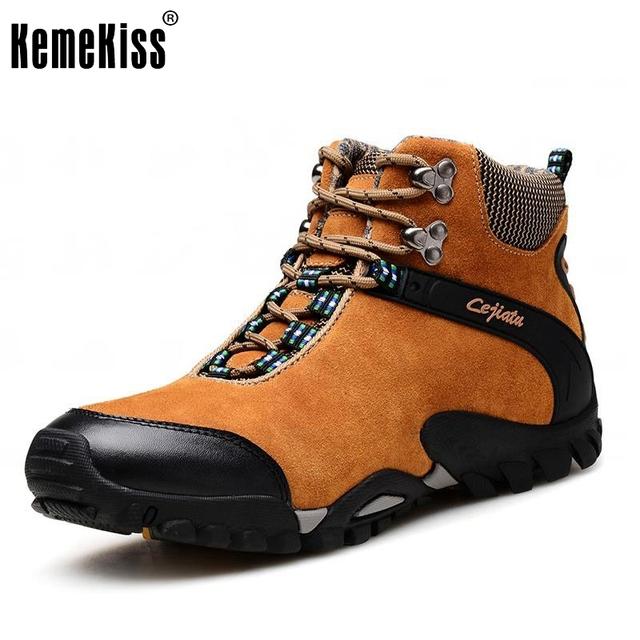 Real Couro Genuíno Caminhantes Sapatos Homens Botas de Trekking Sapatos Ao Ar Livre Os Escaladores de Montanha Zapatillas Deportivas Longo Plush Keep Warm