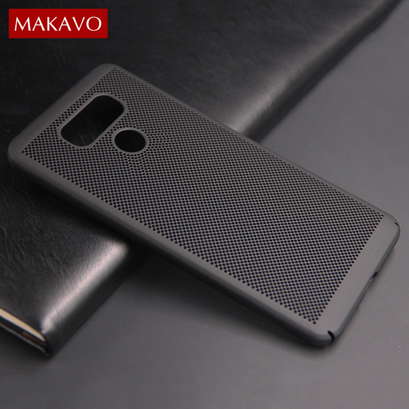 MAKAVO For LG G6 Case Hollow 360 Protection Matte Hard Back Cover Grid Design Fundas For LG K10 2017 Phone Cases