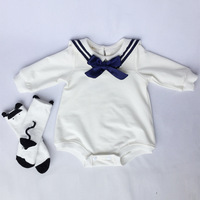 2018 Spring Section Of Cotton Long Sleeved Navy Bow Tie Coveralls Romper Baby Girl Romper Baby