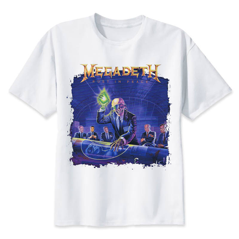 megadeth T shirt men t shirt fashion t-shirt O Neck white TShirts For man Top Tees M8044