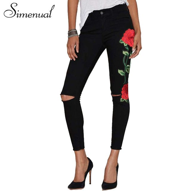 Simenual Embroidery flowers jeans pant female cut out hole fitness slim vintage denim pants women leggings black fashion trouser