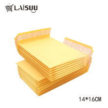 55pcs 140*160mm yellow kraft paper envelope bubble bag express packaging logistics self-styled