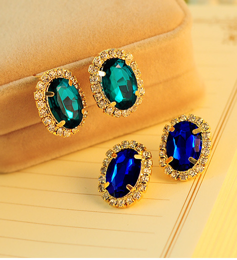 2Color Gorgeous Temperament OL Exquisite Full Cystal Rhinestone Stud Earrings E3286